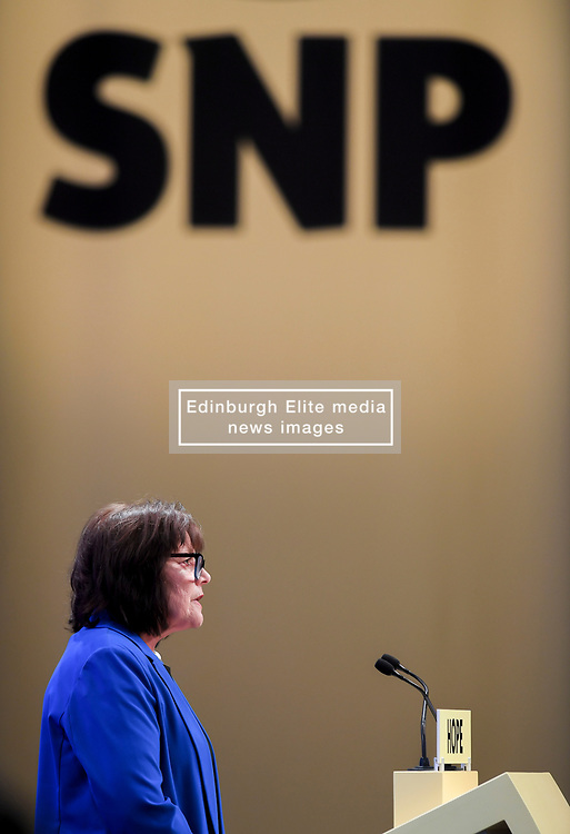 Pictured: Health Secretary Jeane Freeman speaks to conference.<br /> <br /> The SNP held their spring conference at the EICC in Edinburgh, where independence and brevet were high on the agenda.<br /> <br /> © Dave Johnston / EEm