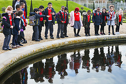 RHP – School children visit Hampton Court Palace in London as part of their free school visits programme aimed at including schools from a less wealthy background. The children tour the palace and learn to make brick patterns similar to those used in the Tudor brickwork of the palace. Hampton Court Palace, London, March 17 2018.