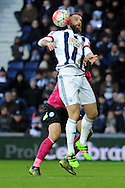 West Brom's Rickie Lambert controls a high ball. The Emirates FA Cup, 4th round match, West Bromwich Albion v Peterborough Utd at the Hawthorns stadium in West Bromwich, Midlands on Saturday 30th January 2016. pic by Carl Robertson, Andrew Orchard sports photography.