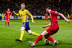 March 23, 2019 - Stockholm, SWEDEN - 190323 Emil Krafth of Sweden and Tudor Baluta of Romania during the UEFA Euro Qualifier football match between Sweden and Romania on March 23, 2019 in Stockholm. (Credit Image: © Andreas L Eriksson/Bildbyran via ZUMA Press)