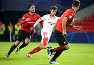 Oliver Torres of Sevilla FC, Clement Grenier of Stade Rennais (left) during the UEFA Champions League, Group E football match between Stade Rennais and Sevilla FC (FC Seville) on December 8, 2020 at Roazhon Park in Rennes, France - Photo Jean Catuffe / ProSportsImages / DPPI