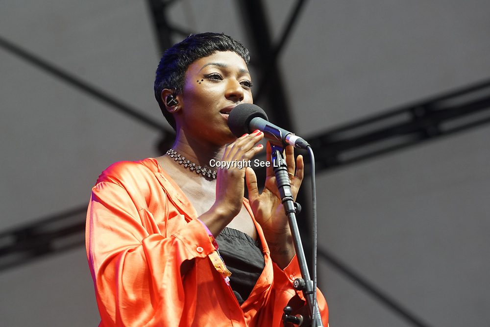 London, England, UK. 16th July 2017. Bonobo and a guest singer performer at the Citadel Festival at Victoria Park, London, UK.