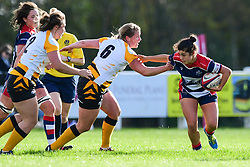 Caity Mattinson of Bristol Ladies  fends off Sarah Mitchelson of Wasps Ladies - Mandatory by-line: Craig Thomas/JMP - 28/10/2017 - RUGBY - Cleve RFC - Bristol, England - Bristol Ladies v Wasps Ladies - Tyrrells Premier 15s