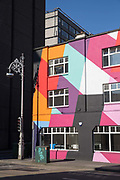 The colourful Tara Building on 08th April 2017 in Dublin, Republic of Ireland. The Tara Building is a community hub for professional individuals and organisations located in central Dublin. Dublin is the largest city and capital of the Republic of Ireland
