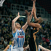 Fenerbahce Ulker's Oguz SAVAS (L) and Sluc Nancy's Victor SAMNICK (R) during their Turkish Airlines Euroleague Basketball Group A Game 3 match Fenerbahce Ulker between Sluc Nancy at Abdi İpekci Arena in Istanbul, Turkey, Thursday, November 03, 2011. Photo by TURKPIX