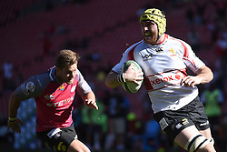 Lourens Erasmus scores a try during the Currie Cup 1st division match between the The Lions and the Pumas held at the Emirates Airline Park (Ellis Park), Johannesburg, South Africa on the 13th August 2016Photo by:   Real Time Images
