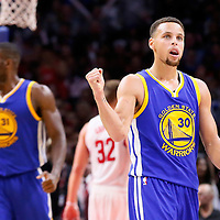 19 November 2015: Golden State Warriors guard Stephen Curry (30) celebrates during the Golden State Warriors 124-117 victory over the Los Angeles Clippers, at the Staples Center, Los Angeles, California, USA.