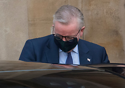 © Licensed to London News Pictures. 10/09/2020. London, UK. Chancellor of the Duchy of Lancaster MICHAEL GOVE  is seen leaving Lancaster House in London following a meeting with EU officials including Michel Barnier. British Prime Minister Boris Johnson has threatened to overwrite parts of the EU withdrawal agreement signed with Brussels last October. Photo credit: Ben Cawthra/LNP