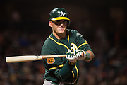 Oakland Athletics second baseman Tyler Ladendorf (25) watches a pitch against the Oakland Athletics at AT&T Park in San Francisco, California, on March 30, 2017. (Stan Olszewski/Special to S.F. Examiner)