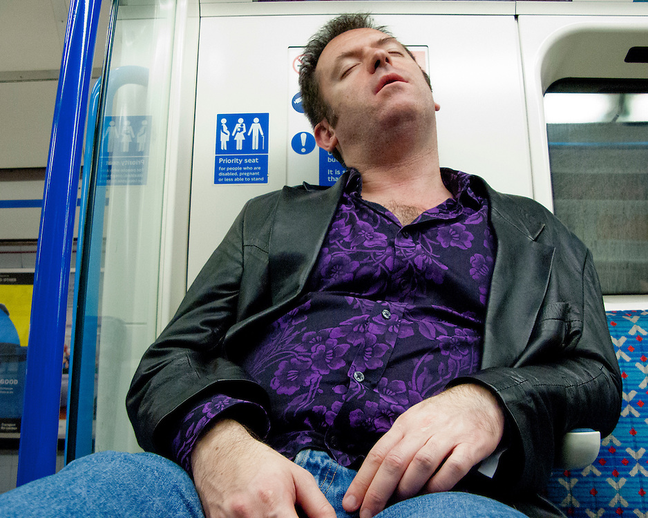 Portrait of a drunk male on the London Underground Network