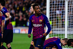 May 1, 2019 - Barcelona, BARCELONA, Spain - 02 Nelson Semedo of FC Barcelona celebrating the victory during the UEFA Champions League first leg match of Semi final between FC Barcelona and Liverpool FC in Camp Nou Stadium in Barcelona 01 of May of 2019, Spain. (Credit Image: © AFP7 via ZUMA Wire)