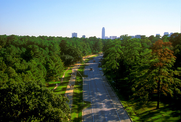 Stock photo of an aerial view of running trails along Memorial Park in Houston Texas