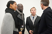 ASHLEY ADJAYE; DAVID ADJAYE; TONY CHAMBERS, Editor of Wallpaper: Tony Chambers and architect Annabelle Selldorf host drinks to celebrate the collaboration between the architect and three of Savile Row's finest: Hardy Amies, Spencer hart and Richard James. Hauser and Wirth Gallery. ( Current show Isa Genzken. ) savile Row. London. 9 January 2012.
