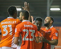 Blackpool's Kyle Vassell celebrates with teammates after scoring his sides fourth goal<br /> <br /> Photographer Alex Dodd/CameraSport<br /> <br /> The EFL Sky Bet League Two - Blackpool v Notts County - Saturday 12th November 2016 - Bloomfield Road - Blackpool<br /> <br /> World Copyright © 2016 CameraSport. All rights reserved. 43 Linden Ave. Countesthorpe. Leicester. England. LE8 5PG - Tel: +44 (0) 116 277 4147 - admin@camerasport.com - www.camerasport.com