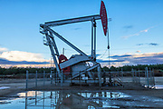 A pumpjack and surface water at oil well and fracking site in Shafter. Kern County, located over the Monterey Shale, has seen a dramatic increase in oil drilling and hydraulic fracking in recent years. San Joaquin Valley, California, USA