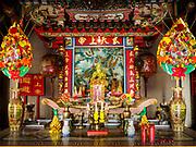 23 DECEMBER 2018 - CHANTABURI, THAILAND: Kwuan Im Shrine a Chinese shrine in Chantaburi. Chantaburi is the capital city of Chantaburi province on the Chantaburi River. Because of its relatively well preserved tradition architecture and internationally famous gem market, Chantaburi is a popular weekend destination for Thai tourists.   PHOTO BY JACK KURTZ