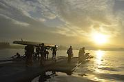Sydney, Australia. Sydney International Rowing Regatta. held at the Sydney International Rowing Centre, Penrith Lakes, NSW.   Sunrise, crews prepare to boat. Tuesday, 19/03/2013 [Mandatory Credit,Intersport Images]..
