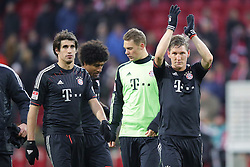 02.02.2013, Coface Arena, Mainz, GER, 1. FBL, 1. FSV Mainz 05 vs FC Bayern Muenchen, 20. Runde, im Bild Bastian SCHWEINSTEIGER (FC Bayern Muenchen - 31) Jubelt - Javier MARTINEZ (FC Bayern Muenchen - 8), Torwart Manuel NEUER (FC Bayern Muenchen - 1) und DANTE (FC Bayern Muenchen - 4) mit im Bild // during the German Bundesliga 20th round match between 1. FSV Mainz 05 and FC Bayern Munich at the Coface Arena, Mainz, Germany on 2013/02/02. EXPA Pictures © 2013, PhotoCredit: EXPA/ Eibner/ Gerry Schmit..***** ATTENTION - OUT OF GER *****