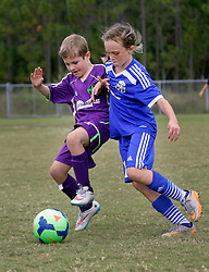 10 October 2015. Mandeville, Louisiana.<br /> New Orleans Jesters Youth Academy.<br /> U10 team Green II take on Gulf Coast United (Blue). Jesters emerge victorious.<br /> Photo©; Charlie Varley/varleypix.com
