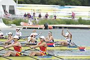 Eton Dorney, Windsor, Great Britain,..2012 London Olympic Regatta, Dorney Lake. Eton Rowing Centre, Berkshire[ Rowing]...Description;   USA W4X Bronze medalist, Natelie DELL, Kara HOLER, Megan KALMOE and Adrienne MARTELLI.   Dorney Lake. 12:16:46  Wednesday  01/08/2012 [Mandatory Credit: Peter Spurrier/Intersport Images]  .