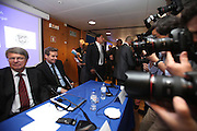 European Union delegation leader Jurgen Kruger , left , and Poul Thomsen, right .from the International Monetary Fund right attend a news conference in Lisbon May 5, 2011. The rate on the European Union bailout loan to Portugal will be decided at a mid-May meeting of finance ministers, but it could be slightly lower than that applied to Greece, EU mission head Kruger said on Thursday( Joao Henriques / 4SEE Photo )