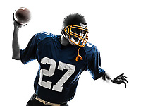 one  quarterback american throwing football player man in silhouette studio isolated on white background