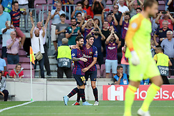 September 18, 2018 - Barcelona, Catalonia, Spain - Lionel Messi of FC Barcelona celebrates with Sergi Roberto after scoring his side's opening goal during the UEFA Champions League, Group B football match between FC Barcelona and PSV Eindhoven on September 18, 2018 at Camp Nou stadium in Barcelona, Spain (Credit Image: © Manuel Blondeau via ZUMA Wire)