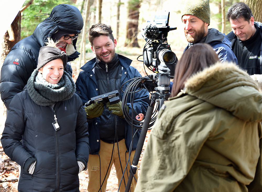 """April 5, 2016, Guilford, CT<br /> Mara Lavitt -- Special to the Hartford Courant<br /> Guilford native Matt Newton of Greenwich on his family's property in Guilford making his horror short-film """"Hide/Seek."""" From left: Matt's wife and the film's art department Liana Newton, executive director Douglas Keeve, Newton, actress Michelle Vezilj of NYC, director of photography Kristian Borysevicz of NYC, and associate producer Greg White of Middlebury work on a shot."""