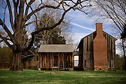 An old house sits under the branches of a large tree at Stagville Plantation in Durham, North Carolina