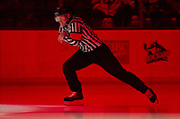 KELOWNA, BC - FEBRUARY 28: Referee Brett Iverson enters the ice at the Kelowna Rockets against the Everett Silvertips at Prospera Place on February 28, 2020 in Kelowna, Canada. (Photo by Marissa Baecker/Shoot the Breeze)