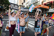 New York, NY - 25 June 2017. New York City Heritage of Pride March filled Fifth Avenue for hours with groups from the LGBT community and it's supporters. Transgender activists reveal themselves in various stages of transition.