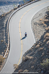 Dave Holzerland of Washington riding his 1916 Indian up the steep mountain pass just out of Palm Desert on the Palms to Pines Scenic Byway on the last day of the Motorcycle Cannonball Race of the Century. Stage-15 ride from Palm Desert, CA to Carlsbad, CA. USA. Sunday September 25, 2016. Photography ©2016 Michael Lichter.