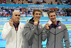LONDON, Aug. 2, 2012  C Gold medalist Michael Phelps (C) of U.S., silver medalist Ryan Lochte (R) of U.S. and bronze medalist Laszlo Cseh of Hungary pose at awarding ceremony of men¡¯s 200m individual medley of swimming, at London 2012 Olympic Games in London, Britain, August 2, 2012. Michael Phelps of U.S. won gold medal. (Credit Image: © Xinhua via ZUMA Wire)