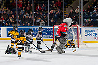 KELOWNA, CANADA - JANUARY 3: Mini minor hockey players take to the ice during intermission at the Kelowna Rockets against the Tri-City Americans  on January 3, 2017 at Prospera Place in Kelowna, British Columbia, Canada.  (Photo by Marissa Baecker/Shoot the Breeze)  *** Local Caption ***