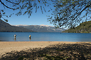 Mena fishing, Man fishing, Lago Hermoso, Neuqu?n Region, Argentina, South America