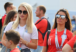 Annabel Peyton (left), partner of England's Jack Butland and Rebekah Vardy, wife of Jamie Vardy prior to the FIFA World Cup, Quarter Final match at the Samara Stadium.