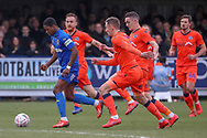 AFC Wimbledon attacker Michael Folivi (41) dribbling and shot on goal during the The FA Cup 5th round match between AFC Wimbledon and Millwall at the Cherry Red Records Stadium, Kingston, England on 16 February 2019.