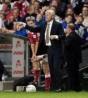 Fotball<br /> England 2005/2006<br /> Foto: SBI/Digitalsport<br /> NORWAY ONLY<br /> <br /> Danmark v England<br /> <br /> International Friendly. 17/08/2005.<br /> <br /> Denmark manager Morten Olsen plots an excellent victory for his side.
