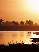 People wash in the calm water of the Bani River at dusk in Djenné, Mali