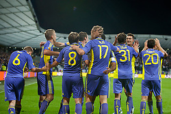 Team NK Maribor celibrate at 2nd Round of Europe League football match between NK Maribor (Slovenia) and Birmingham City (England), on September 29, 2011, in Maribor, Slovenia.  (Photo by Urban Urbanc / Sportida)