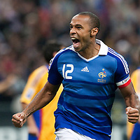 05 September 2009: French forward and captain Thierry Henry celebrates after scoring during the World Cup 2010 qualifying football match France vs. Romania (1-1), on September 5, 2009 at the Stade de France stadium in Saint-Denis, near Paris, France.