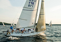 A J80 sailboat catches the wind on Lake Winnipesaukee.  (Karen Bobotas/for the Laconia Daily Sun)