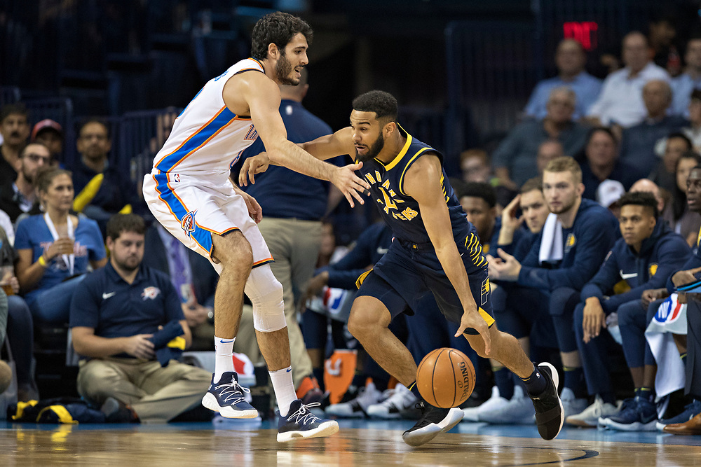 OKLAHOMA CITY, OK - OCTOBER 25:  Alex Abrines #8 of the Oklahoma City Thunder playing defense during a game against the Indiana Pacers at the Chesapeake Energy Arena on October 25, 2017 in Oklahoma City, Oklahoma.  NOTE TO USER: User expressly acknowledges and agrees that, by downloading and or using this photograph, User is consenting to the terms and conditions of the Getty Images License Agreement.  The Thunder defeated the Pacers 114-96.  (Photo by Wesley Hitt/Getty Images) *** Local Caption *** Alex Abrines
