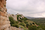The Nimrod Fortress, a medieval fortress situated on a ridge in the Golan Heights, Israel