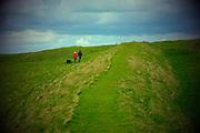 Dorset life. walking on Eggardon Hill Neolithic Iron age Hill Fort
