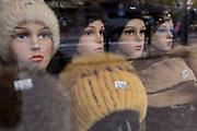 A detail of womens' winter hats in a shop window on Zamoyskiego Street, on 16th September 2019, in Zakopane, Malopolska, Poland.