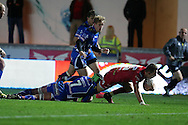 Liam Williams of the Scarlets © crashes over to score his teams 2nd try. Guinness Pro12 rugby match, Scarlets v Newport Gwent Dragons at the Parc y Scarlets in Llanelli, West Wales on Saturday 8th October 2016.<br /> pic by  Andrew Orchard, Andrew Orchard sports photography.