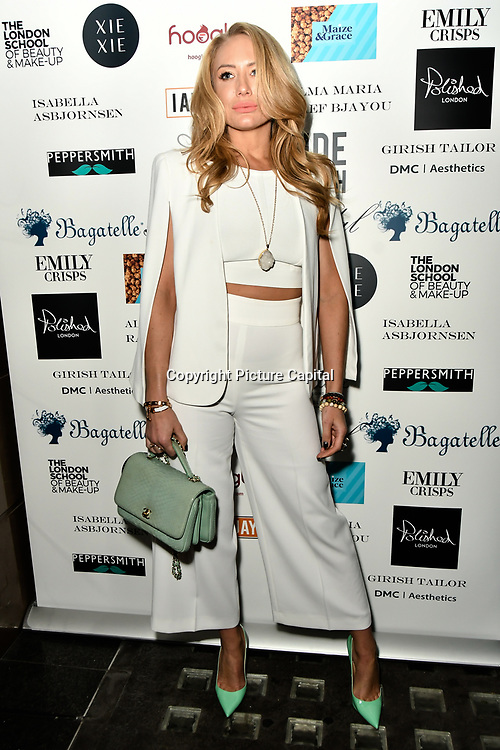 Coralie Jo  Arrivers at Nina Naustdal catwalk show SS19/20 collection by The London School of Beauty & Make-up at Bagatelle on 26 Feb 2019, London, UK.