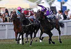 Baghdad ridden by Andrea Atzeni (centre) wins the King George V Stakes during day three of Royal Ascot at Ascot Racecourse. PRESS ASSOCIATION Photo. Picture date: Thursday June 21, 2018. See PA story RACING Ascot. Photo credit should read: John Walton/PA Wire. RESTRICTIONS: Use subject to restrictions. Editorial use only, no commercial or promotional use. No private sales.