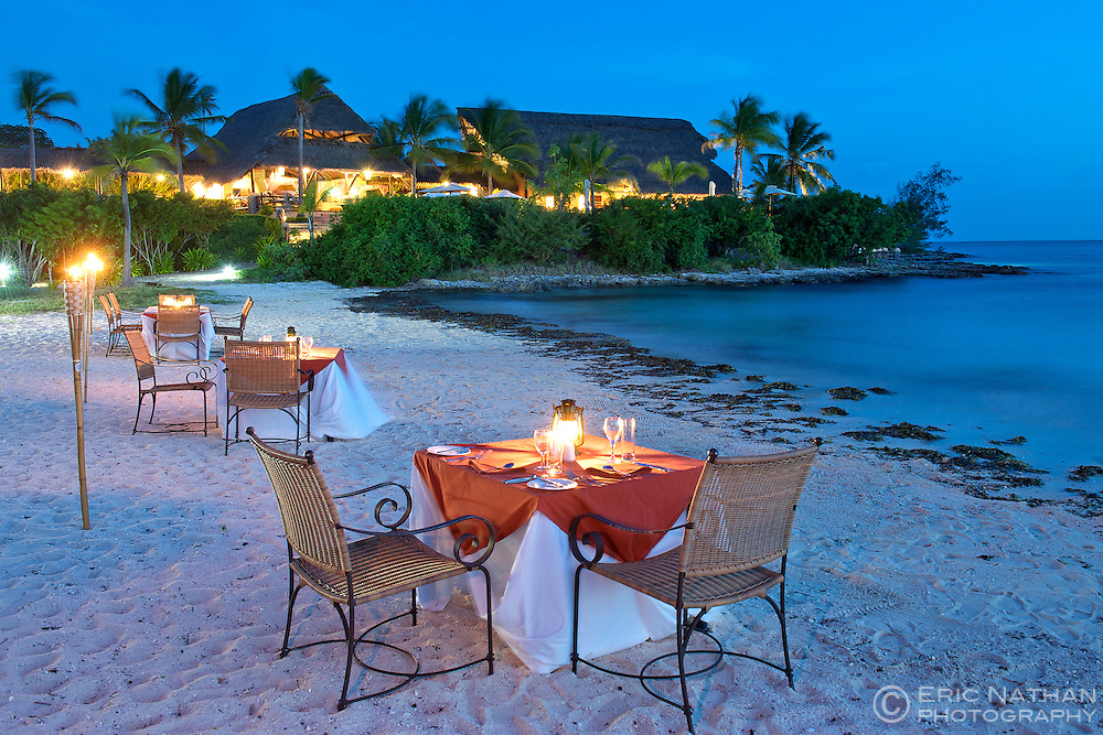 Dinner tables on the beach at Matemo lodge in the Quirimbas archipelago in Mozambique.